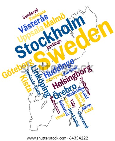 Sweden map and words cloud with larger cities - stock vector