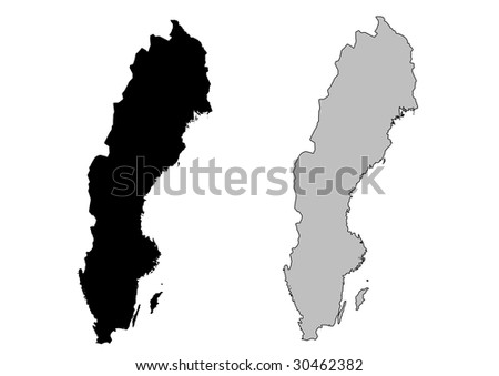 Sweden map. Black and white. Mercator projection. - stock vector
