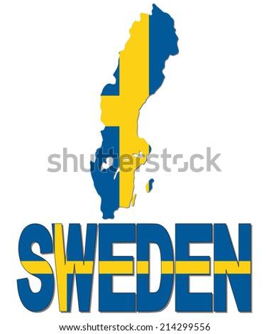 Sweden Map Flag Text Illustration Stock Illustration - Sweden map clipart