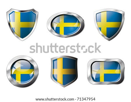 Sweden set shiny buttons and shields of flag with metal frame - vector illustration. Isolated abstract object against white background. - stock vector
