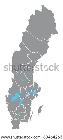 Sweden vector map hand drawn with counties on separate layers - stock vector