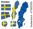 Sweden vector set. Detailed country shape with region borders, flags and icons isolated on white background. - stock photo