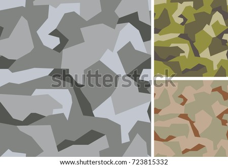Swedish camouflage geometric seamless pattern. Urban, woodland and desert color scheme.