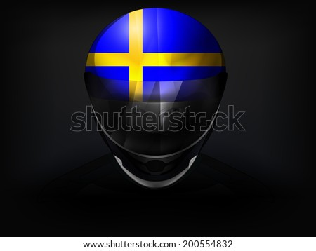 Swedish racer with flag on helmet vector closeup illustration - stock vector