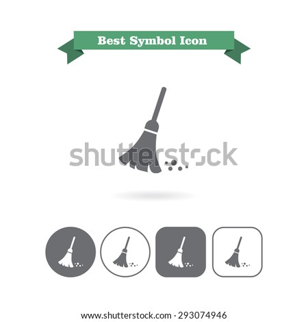 Sweeping broom icon - stock vector