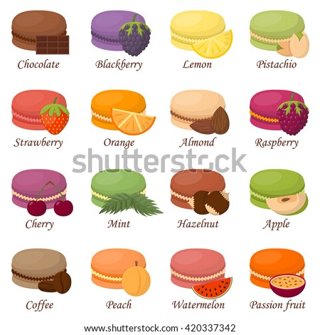 Sweet and colourful french macaroons or macaron on white background. Dessert fruit macaroons and different colors macaroons. Pasty traditional sweet macaroons biscuit dessert france delicious. - stock vector