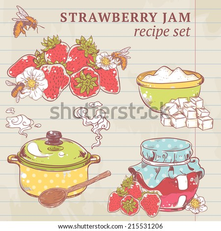 Sweet and healthy homemade strawberry jam ingredients on lined paper vector illustration - stock vector