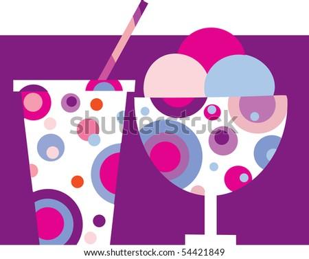 sweet and tasty ice-cream/milk shake - stock vector