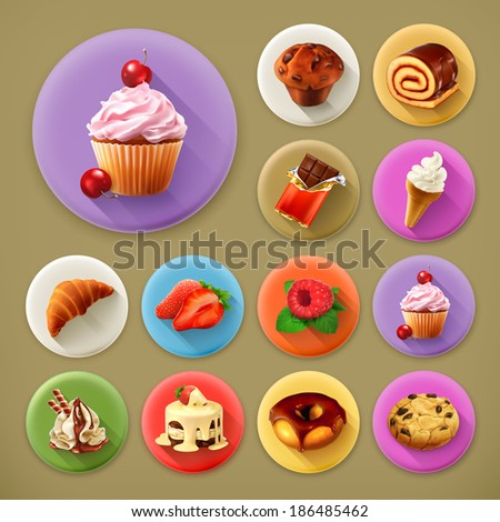 Sweet and tasty, long shadow icon set - stock vector