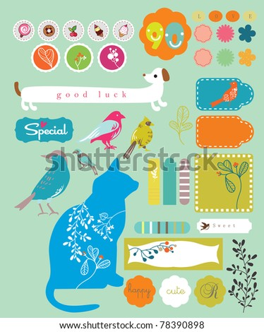 sweet animals and lovely tags sticker set for scrapbooking - stock vector