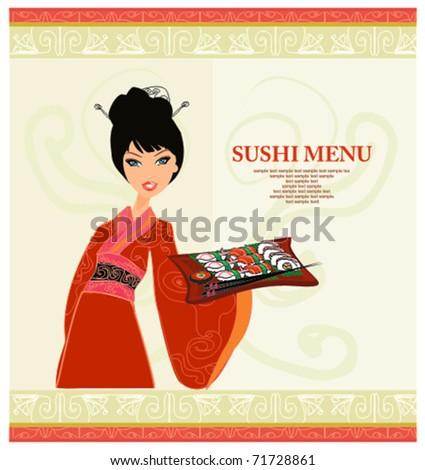 sweet Asian girl enjoy sushi - stock vector