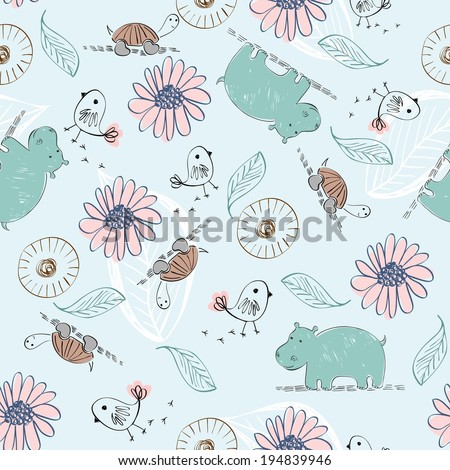 Sweet babies doodle seamless pattern. Babies background. - stock vector