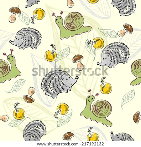 Sweet babies doodle seamless pattern. Pastel background. - stock vector