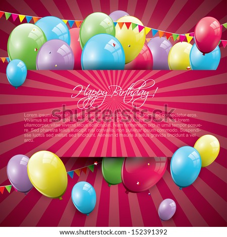Sweet birthday background with balloons and copyspace  - stock vector