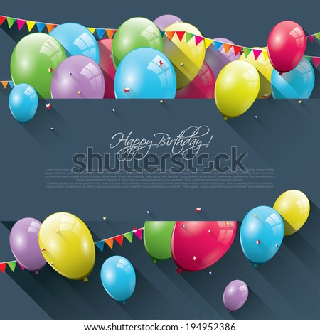 Sweet birthday background with colorful balloons and place for text - stock vector