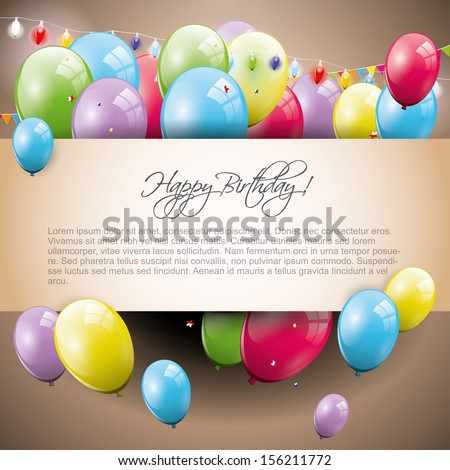 Sweet brown birthday background with place for text - stock vector