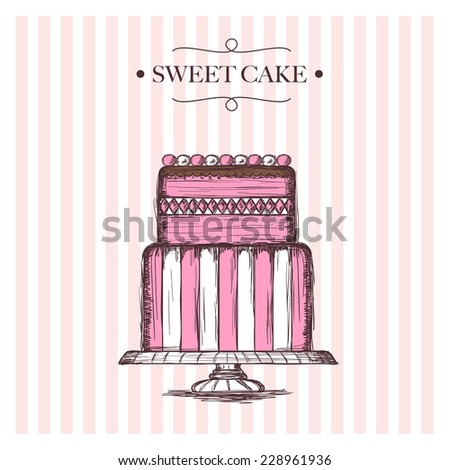 sweet cake  - stock vector