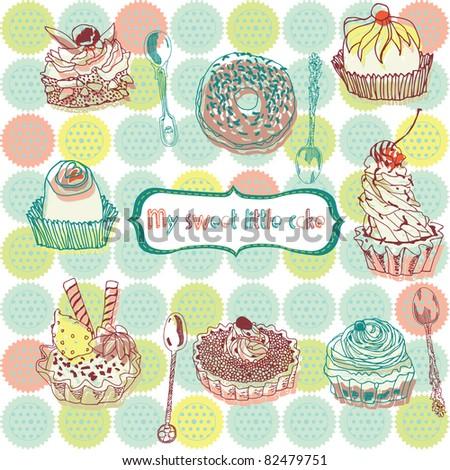 Sweet cake - stock vector