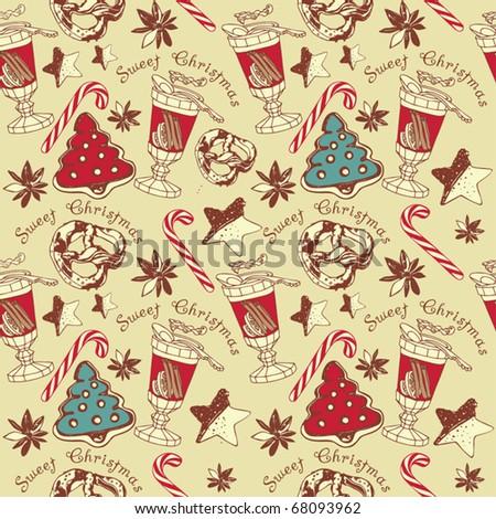 Sweet cake. Christmas seamless pattern - stock vector