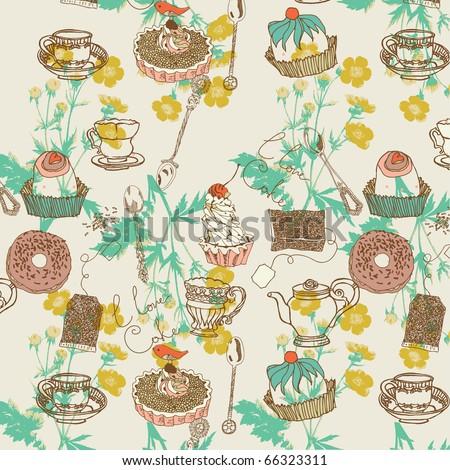 sweet cake seamless pattern - stock vector