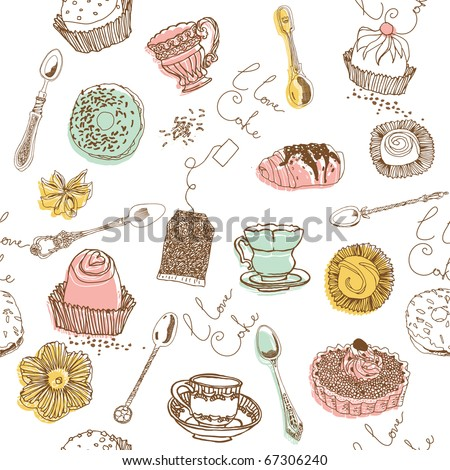 sweet cake. seamless pattern - stock vector
