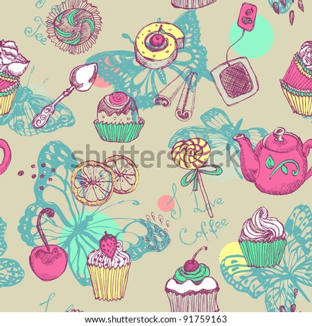 Sweet cake seamless pattern with butterfly - stock vector