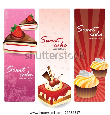 sweet cakes set banners - stock vector