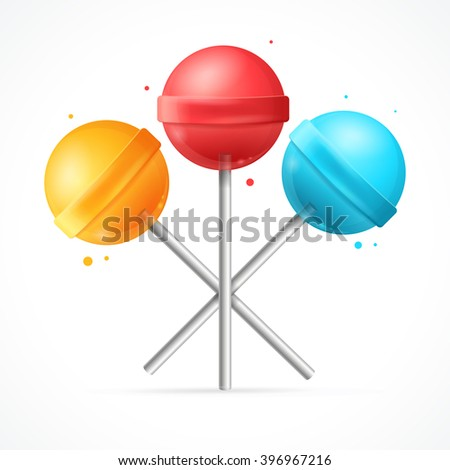Sweet Candy Lollipops Set on White Background. Vector illustration  - stock vector