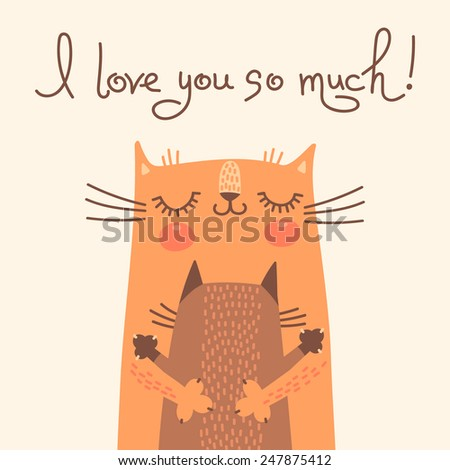 Sweet card for Mother's Day with cats. Vector illustration. - stock vector