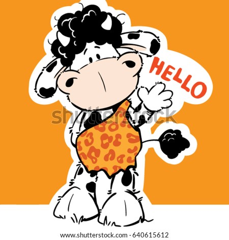 Sweet cartoon cow funny vector illustration/character design/fashion graphic/T-shirt graphics