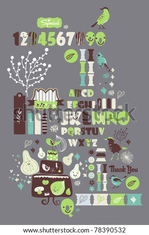 sweet character font set- very cute green fonts set for scrapbooking - stock vector