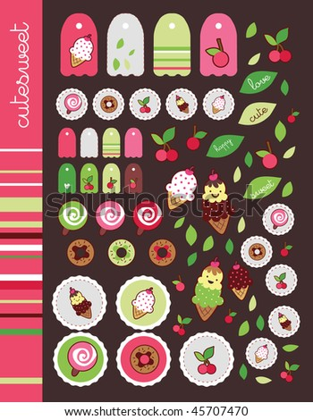 sweet cherry pink sticker set - stock vector