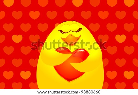Sweet chick with big heart, vector background - stock vector