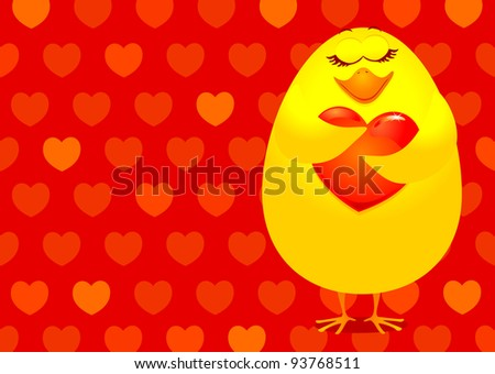 Sweet chick with heart, vector background - stock vector