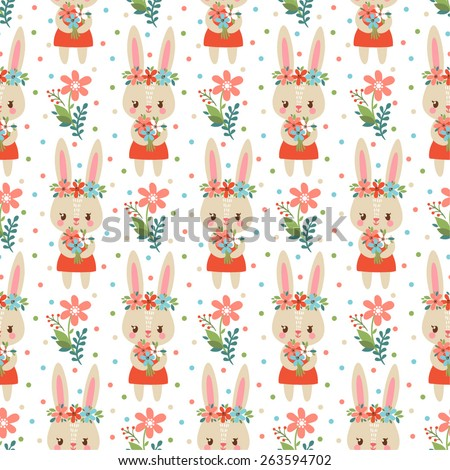 Sweet childish seamless pattern with cute  rabbits holding flowers. Lovely childish wallpaper in vector. - stock vector