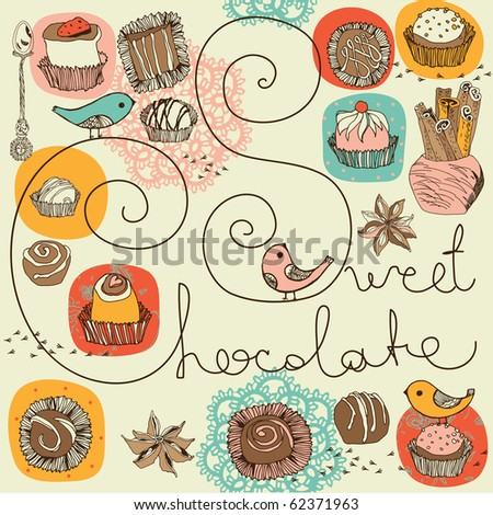 sweet chocolate background - stock vector