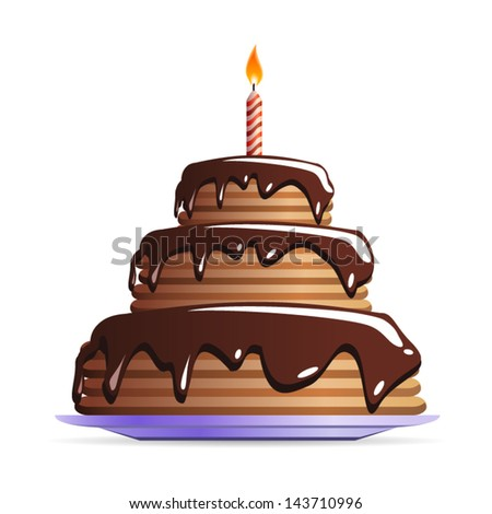 Sweet Chocolate birthday cake with candle icon isolated on white background. Vector
