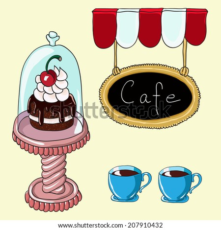 Sweet chocolate cake in a glass bell jar, cups of coffee, chalk blackboard signboard. Hand drawn vector illustration.