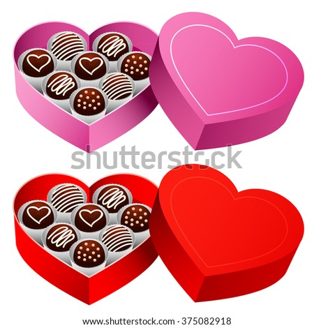 Sweet Chocolate Heart Box Delicious Chocolate Stock Vector ...
