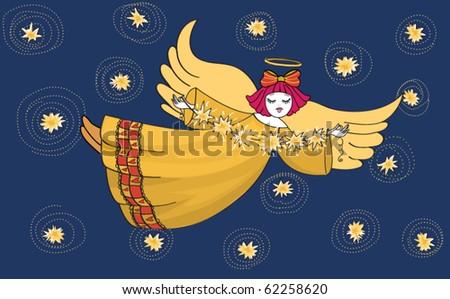 Sweet Christmas Angel - stock vector
