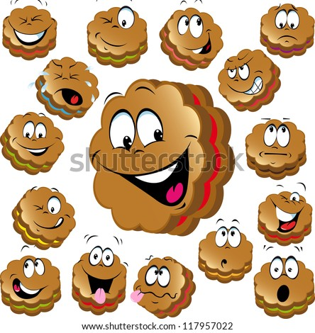 sweet christmas cookies with funny faces - stock vector