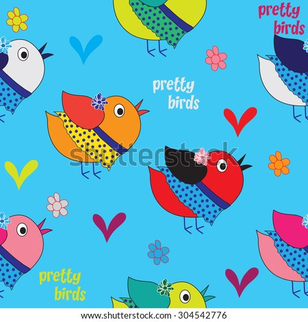 sweet colorful birds with hearts and flowers pattern vector illustration - stock vector