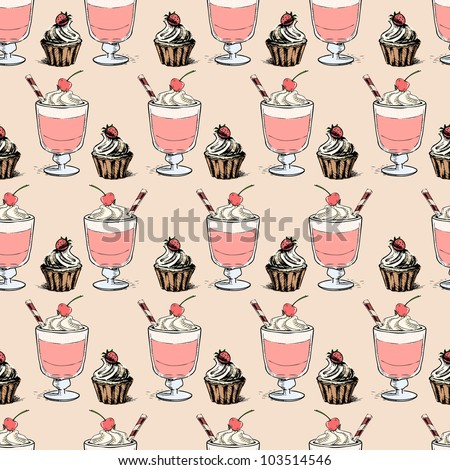 Sweet cupcakes and milkshakes background. Seamless sketch vector pattern - stock vector