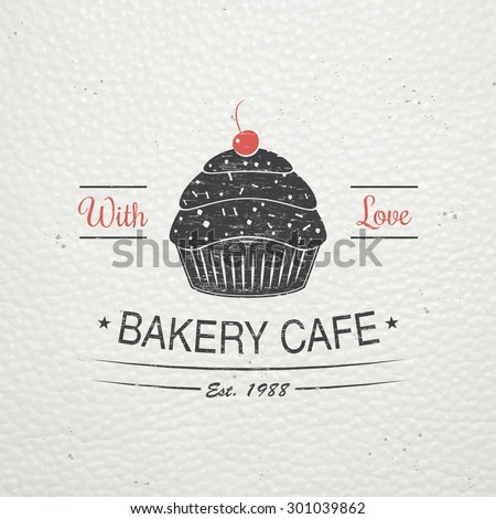 Sweet Cupcakes. Bakery baking. Cafes and eateries. The food and service. Old retro vintage grunge. Scratched, damaged, dirty effect. Labels, stickers, logos and badges. Flat vector illustration - stock vector