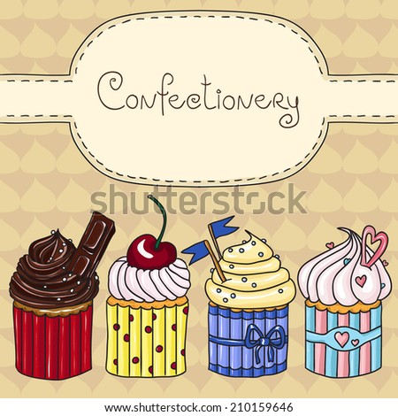 Sweet cupcakes. Hand drawn vector illustration. - stock vector