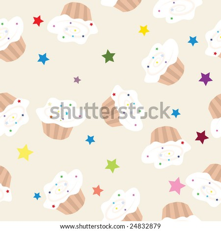 Sweet cupcakes, vector seamless pattern-illustration. - stock vector