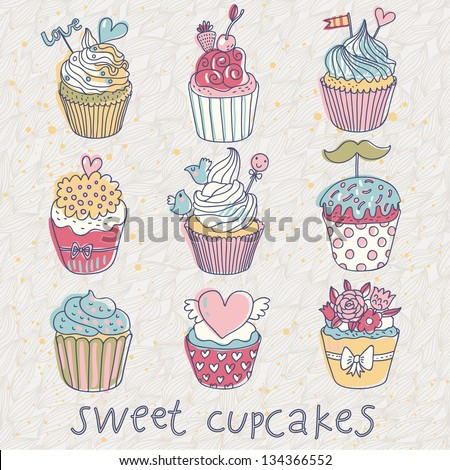 Sweet cupcakes � vector set. Cartoon tasty cupcakes in pastel colors - stock vector