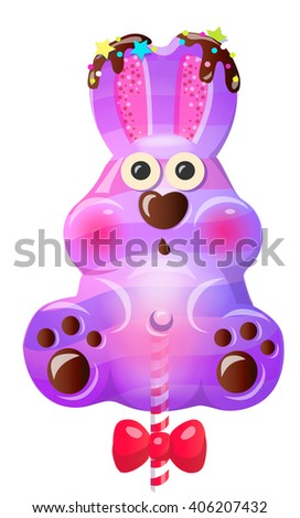 Sweet cute cartoon purple candy lollipop rabbit bunny character. Vector illustration, clip-art, isolated on white background - stock vector