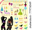 Sweet decorative sticker set for scrap-booking art to download. Vector fashion young sexy bikini model. - stock vector