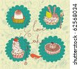 sweet dessert  background - stock vector